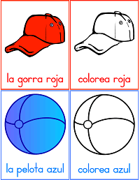 flash cards para aprender los colores